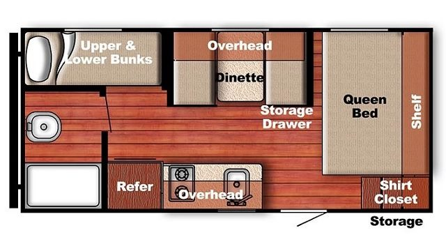 2018 Gulfstream 19' travel trailer floorplan